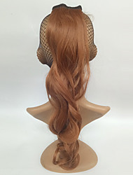 Long Curly Ponytail Brown Color Synthetic Hair For Women