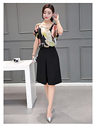 Women's Daily Others Summer Blouse Skirt Suits,Floral Crew Neck Short Sleeve