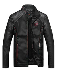 Men's Daily Casual Vintage Fashion Winter Fall Leather Jacket,Solid Stand Long Sleeve Regular PU