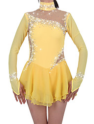 Figure Skating Dress Women's Girls' Ice Skating Dress Daffodil Spandex Chinlon High Elasticity Jeweled Rhinestone Performance Keep Warm