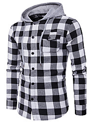 cheap -Men's Daily Street chic Shirt,Striped Print Hooded Long Sleeves Polyester