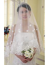 cheap -One-tier Lace Applique Edge Wedding Veil Chapel Veils With Applique Satin Flower Sparkling Glitter Rhinestones Tulle