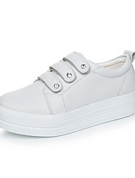 cheap -Women's Heels Comfort Light Soles Spring Fall PU Casual Outdoor Rivet Magic Tape Wedge Heel White Black Ruby 1in-1 3/4in