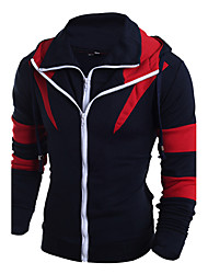 cheap -Men's Plus Size Sports Weekend Active Slim Hoodie - Patchwork Special Design Fashion, Patchwork Mixed Color Hooded