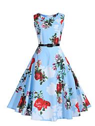 abordables -Mujer Vaina Corte Swing Vestido Fiesta Casual/Diario Noche Vintage Chic de Calle,Floral Escote Redondo Hasta la Rodilla Sin Mangas