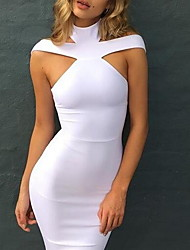 Women's Casual/Daily Simple Bodycon Dress,Solid Strap Knee-length Sleeveless Cotton Summer Mid Rise Inelastic Medium