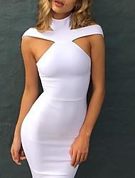 Moulante Robe Femme Décontracté / Quotidien simple,Couleur Pleine A Bretelles Mi-long Sans Manches Coton Eté Taille Normale Non Elastique