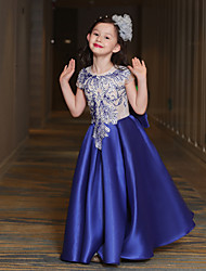 A-Line Ankle Length Flower Girl Dress - Tulle Short Sleeves Jewel Neck with Bowknot by QZ