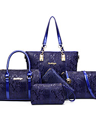 Women Bags All Seasons PU Bag Set 5 Pcs Purse Set for Casual Blue Black Red Brown