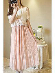 levne -Dámské Volné Šaty - Jednobarevné Barevné bloky Maxi