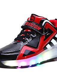 baratos -Crianças Para Meninos Sapatos para Skate Luz LED Respirável Ajustável Azul/Branco/Preto/Vermelho