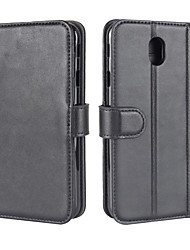 cheap -Case for Samsung Galaxy J5(2017) J7(2017) Cover Card Holder Wallet with Stand Flip Magnetic Full Body Case Solid Color Hard Genuine Leather