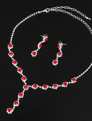 cheap -Women's Synthetic Aquamarine / AAA Cubic Zirconia / Synthetic Sapphire Jewelry Set - Cubic Zirconia, Silver Drop Classic, Elegant Include Drop Earrings / Choker Necklace / Bridal Jewelry Sets Red