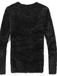 baratos -Masculino Padrão Carregam,Diário Para Noite Vintage Activo Sólido Decote V Manga Longa Cashmere Elastano Inverno Outono Grossa