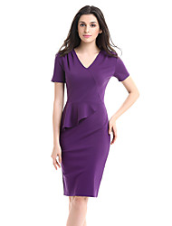 cheap -Women's Party Work Plus Size Vintage Sexy Bodycon Sheath Dress,Solid V Neck Knee-length Short Sleeves Cotton Polyester Spandex Summer Fall