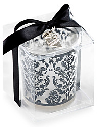 Black Damask Glass Tealight Candle Holder or Whisky Cup\  Wedding Favors