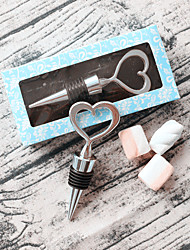 cheap -Heart of Silver Bottle Stopper Wedding Favor