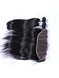 cheap -2 Bundles 200g Natural Black Straight Brazilian Remy Hair Wefts with 1Pcs Free Part 13x4  Ear To Ear Lace Frontal Closures Human Hair Extensions