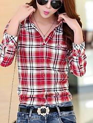 economico -Camicia Da donna Casual Semplice Autunno,A quadri Colletto Cotone Manica lunga Medio spessore