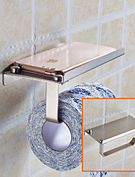cheap -2PCS Toilet Paper Holder Stainless Steel Storage Bathroom Kitchen Paper Towel Dispenser Tissue Roll Hanger Wall Mount with Phone Shelf
