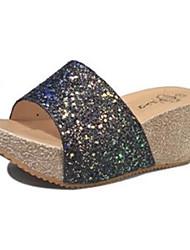 economico -Da donna Pantofole e infradito Comoda PU (Poliuretano) Estate Casual Footing Comoda Traforato Zeppa Oro Nero 7,5 - 9,5 cm
