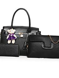 economico -Donna Sacchetti PU (Poliuretano) Tote Set di borsa da 3 pezzi per Casual Formale Per tutte le stagioni Blu Oro Nero Rosso Beige