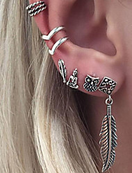 cheap -Women's Clip Earrings Bohemian Costume Jewelry Alloy Leaf Jewelry For Daily