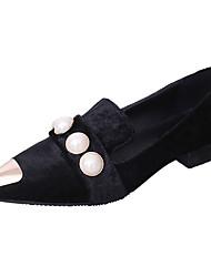 cheap -Women's Flats Comfort Summer PU Walking Shoes Casual Low Heel Black Yellow Green 1in-1 3/4in