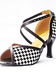 Недорогие -Жен. Обувь для латины Искусственная кожа Сандалии Выступление Перекрещивание На шпильке Персонализируемая Танцевальная обувь Черный