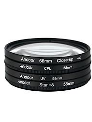 Andoer 58 millimetri uv cpl close-up4 stella filtro a 8 punti filtro circolare kit filtro polarizzatore circolare close-up star filtro a 8