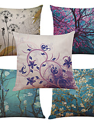 Set of 5 Dandelion Tree  Linen Cushion Cover Home Office Sofa Square Pillow Case Decorative Cushion Covers Pillowcases Without Insert(18*18Inch)