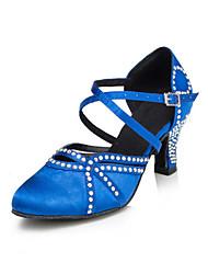 Da donna Danza moderna Raso Tacchi Per interni Con diamantini Quadrato Nero Blu 5 - 6,8 cm