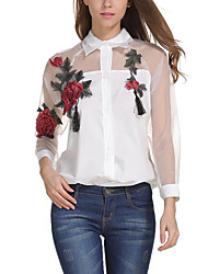 cheap -Women's Polyester Blouse - Flower/Floral, Mesh Shirt Collar