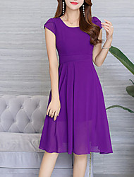 cheap -Women's Party Daily Going out Sexy Boho Sophisticated A Line Chiffon Dress,Solid Round Neck Knee-length Short Sleeves Others Spring Summer