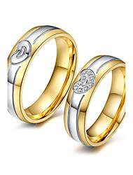 cheap -Couple's Couple Rings AAA Cubic Zirconia Gold Cubic Zirconia Titanium Steel 18K Gold Round Elegant Fashion Adorable Wedding Anniversary