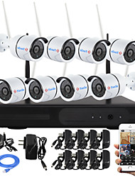 Kit nvr wireless yanse® 8ch p2p 960p impermeabile hd ir visione notturna macchina fotografica wifi cctv 1.3mp 3.6mm