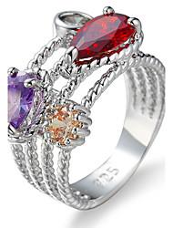 Per donna Per uomo Struttura dell'anello Fedine Anello Zircone cubico StrassClassico Originale Strass Geometrico USA Formale Elegant