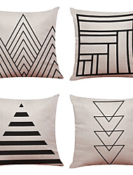 cheap -4 pcs Linen Natural/Organic Pillow Case Pillow Cover, Textured Beach Style Traditional/Classic Office/Business Modern/Contemporary