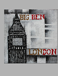 cheap -IARTS® Abstract Modern London Big Ben in Grey & Red Letters Handmade Oil Painting On Canvas with Stretched Frame Wall Art For Home Decoration Ready To