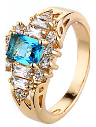 cheap -Ring Settings Ring  Luxury Elegant Noble Zircon  Women's Square  Rhinestone Euramerican Fashion Birthday Wedding Movie Gift Jewelry