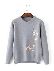 Standard Cashmere Da donna-Per uscire Casual Semplice Tinta unita Con stampe Rotonda Manica lunga Cotone Primavera AutunnoSottile Medio