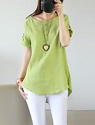 cheap -Women's Puff Sleeve Cotton T-shirt - Solid, Modern Style Classic