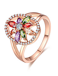 preiswerte -Damen Kubikzirkonia Roségold Kubikzirkonia Ring - Blume Elegant nette Art Verschiedene Farben Ring Für Hochzeit Jahrestag Party Verlobung