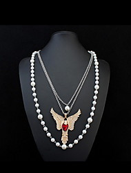 Women's Pendant Necklaces Chain Necklaces Layered Necklaces Synthetic Diamond Animal Shape Synthetic Gemstones Imitation Pearl Glass Alloy