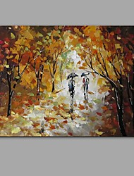 cheap -Hand-Painted Knife Street scenery Oil Painting Wall Art With Stretcher Frame Ready To Hang