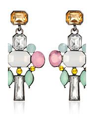 cheap -Fashion Elegant Charm Colorful Crystal Flower Long Drop Earring for Women Rhinestones Earrings Water Pendant Female Acrylic Wedding Jewelry Boucle