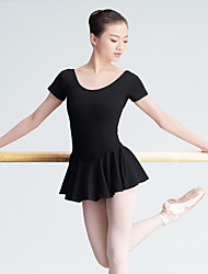Ballet Leotards Women's Training Cotton 1 Piece Short Sleeve High Leotard