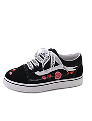 Women's Sneakers Comfort Spring Summer Canvas Walking Shoes Casual Outdoor Lace-up Platform White Black 1in-1 3/4in