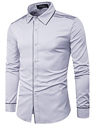 cheap -Men's Party Daily Going out Casual Chinoiserie Spring Fall Shirt,Solid Standing Collar Long Sleeves Cotton