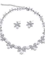 abordables -Femme Strass Perle imitée Ensemble de bijoux - Classique euroaméricains Mode Papillon Set de Bijoux Collier de perles Nuptiales Parures
